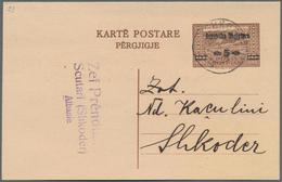 Albanien - Ganzsachen: 1925, 5 Q On 10 Q Brown Postal Stationery Double Postcard Used In Scutari (Sh - Albanien