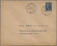 """Albanien - Ganzsachen: 1939, 25 Q Blue Postal Stationery Cover With Overprint Cancelled """"SHKODER"""" To - Albanien"""