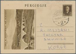 "Albanien - Ganzsachen: 1940/1941. Postcard 10q Viktor Emanuel Sent From ""Shkoder 19.8.41"" To Shumice - Albanien"