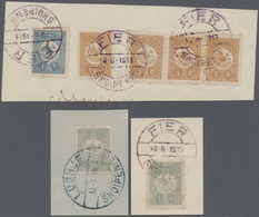 Albanien - Stempel: 1913, SHQIPENIE Type Postmarks Used On Ottoman Empire Stamps: Attractive Group C - Albanien