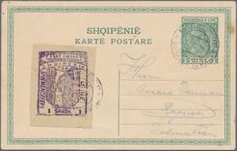 "Albanien - Besonderheiten: 1914, 1 Grosh 'ESAT PASHA' Fiscal Stamp ""Udhe Shemendefer"", Tied By Austr - Albanien"