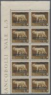 Albanien - Besonderheiten: 1940, Not Issued Overprints On Italy, 1q. On 5c. Brown, Marginal Block Of - Albanien