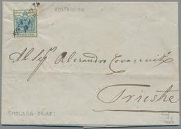 Bosnien Und Herzegowina: 1854, Entire Letter To Triest Bearing Austria 9kr. Blue Hand-made Paper, Wr - Bosnien-Herzegowina