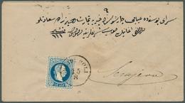 Bosnien Und Herzegowina: 1879, Incoming Mail From Bulgaria: Austrian Levant 10so. Blue, Single Frank - Bosnien-Herzegowina