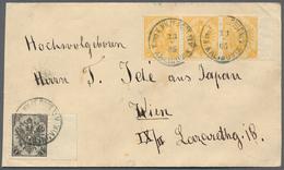 Bosnien Und Herzegowina: 1900, 3h. Yellow, Special Edition In Perf. 6½ Right Marginal Strip Of Three - Bosnien-Herzegowina