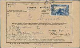 Bosnien Und Herzegowina: 1906, 25 H Blau, Einzelfrankatur Auf Rückschein Mit Stpl. K.und K.MILIT.POS - Bosnien-Herzegowina