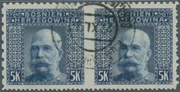 Bosnien Und Herzegowina: 1906, 5 Kr Dunkelblau, Gestempeltes Waagerechtes Paar, Mitte Ungezähnt, Am - Bosnien-Herzegowina