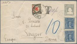 Bosnien Und Herzegowina: 1908, INCOMING MAIL: Chile, 2 C Grau 'Columbus' Ganzsachenumschlag Mit Zusa - Bosnien-Herzegowina