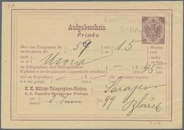 Bosnien Und Herzegowina - Ganzsachen: 1882, 10 H Violet Receipt (Aufgabeschein) Cancelled With Blue - Bosnien-Herzegowina