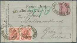 Bosnien Und Herzegowina - Ganzsachen: 1899, Letter Card 5kr. Rose Uprated By Pair 5kr. Red, Register - Bosnien-Herzegowina