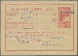 Bosnien Und Herzegowina - Ganzsachen: 1900/1907, 10 H Rose Receipt (Aufgabeschein) Cancelled With Bl - Bosnien-Herzegowina