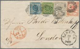 Dänemark: 1865 Folded Cover From Aarhuus To London Via Hamburg, Franked By 1855 2s. Blue In Combinat - 1864-04 (Christian IX)