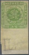 Dänemark: 1857 8s. Green Bottom Marginal Single, Wmk Crown Plus Part Marginal Sheet Wmk, Mint Never - 1864-04 (Christian IX)