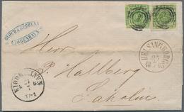 Dänemark: 1858 Two Singles Of 8s. Green Used On Letter From Copenhagen To Laholm, Sweden Via Helsing - 1864-04 (Christian IX)