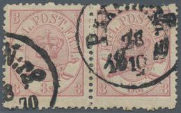 "Dänemark: 1870 3s. Lilac Horizontal Pair, 4th Printing, PERF 12½, Used And Cancelled By ""PKXP N:r2/1 - 1864-04 (Christian IX)"