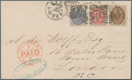 Dänemark: 1871 2s. Grey & Ultramarine (1st Printing), 4s. Red & Grey (2nd-3rd Printing) And 8s. Brow - 1864-04 (Christian IX)