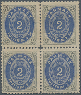 Dänemark: 1871 2s. Grey & Ultramarine, PERF 12½, Block Of Four From Printing 1a, Sheet Pos. A65-66/7 - 1864-04 (Christian IX)