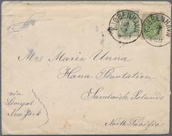 Dänemark: 1890 (ca.) Destination SANDWICH ISLANDS: Cover From Copenhagen To Hana Plantation (Maui), - 1864-04 (Christian IX)