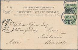 Dänemark: 1904 Destination LAOS: Picture Postcard From Copenhagen To Laos Via Burma, Franked By 1894 - 1864-04 (Christian IX)