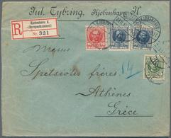 Dänemark: 1910 Destination GREECE: Registered Cover From Copenhagen To Athens Franked By KFVIII. 5 ø - 1864-04 (Christian IX)