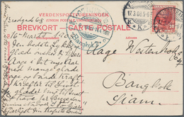 Dänemark: 1908, 10 Öre Single Franking On Souvenir Postcard From Kopenhavn To Bangkok/Siam, Arrival - 1864-04 (Christian IX)