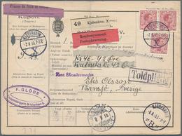 Dänemark: 1915, Three Stamps 50 Öre Brown On Parcel Card From Kobenhavn To Sweden, Card With Vertica - 1864-04 (Christian IX)
