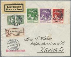 Dänemark: 1926, 10 To 25 Öre Flight Stamps Complete Mixed Franking With 10 Öre Green Pair On Registe - 1864-04 (Christian IX)