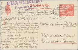 Dänemark: 1946 Ganzsachenpostkarte 25 Öre Rot Auf Weißem Papier Mit Sehr Seltener Zensur Von Lemvik - 1864-04 (Christian IX)