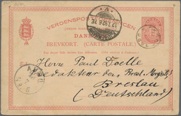 "Dänemark: 1892, 10 Öre Red Postal Stationery Card Cancelled With Rare Small Circle ""SKODSBORG"", On R - 1864-04 (Christian IX)"