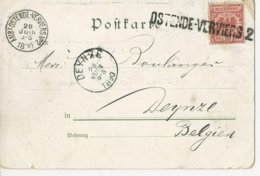 All.Empire TP 10 Pf Annulé Par GFF D'Ostende-Verviers 2 + Càd Ambt Ost-Verviers N°2-28 JUIN 1890 DEYNZE.TB Et  Rare - Marcophilie