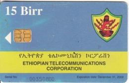 ETHIOPIA - Telecom Logo, Telecom Tower, ETC Telecard 15 Birr, Exp.date 31/12/09, Used - Ethiopia