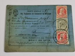 Belgique, Carte D'admission Aux Assemblées, Droit De Vote - Documents Historiques