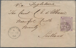 """Gibraltar: 1864, Envelope Franked With 6 D Lilac Cancelled By The """"A26"""" Obliterator With Cds """"GIBRAL - Gibilterra"""