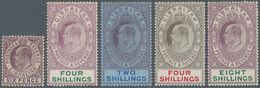 Gibraltar: 1903/1907. Edvard VII, Five Mint Values, 6d, 4s Purple And Green, 2s Pruple And Blue On B - Gibilterra