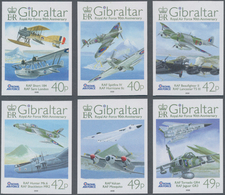 """Gibraltar: 2008. Complete Set """"90 Years Royal Air Force"""" (6 Values) In IMPERFORATE Single Stamps Sho - Gibilterra"""