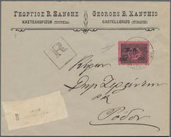 Griechenland - Lokalausgaben: 1913, Castellorizo: Ottoman Empire, 1 Pia Black On Rose Postage Due (M - Grecia
