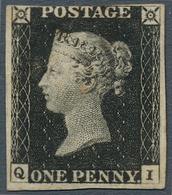 Großbritannien: 1840, 1 D. Black, Plate 1 B, QI, Fresh Colour And Wide Margins At Three Sides, Unuse - Ohne Zuordnung