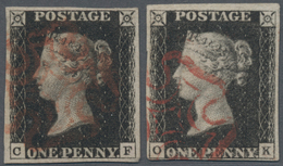"""Großbritannien: 1840 Two Singles Of 1d. Black, One Lettered """"C-F"""", The Other """"O-K"""", Both Used And Ca - Ohne Zuordnung"""