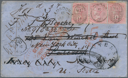 """Großbritannien: 1856, 4c Carmine-red In Stripe Of Three Cancelled With """"W.C. 9"""" On Cover From London - Ohne Zuordnung"""