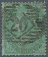 Großbritannien: 1856 QV 1s. Green On Azure Paper, Wmk Emblems, Used And Cancelled By Greenwich Numer - Ohne Zuordnung