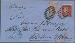 Großbritannien: 1866, 1 P Dark-rose Plate 42 Mixed Franking With 6 P Purple Violet Plate 5 Cancelled - Ohne Zuordnung