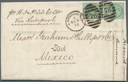 Großbritannien: 1875, 1 Shilling Green Vertical Pair From London Via Liverpool To Mexico With Tax Ha - Ohne Zuordnung