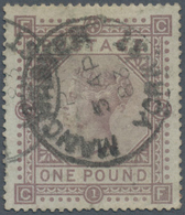 """Großbritannien: 1867/1883, £1 Brown-lilac, Wm Large Anchor, Used Copy Bearing C.d.s. """"MANCHESTER 5 A - Ohne Zuordnung"""