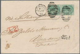 Großbritannien: 1875 1s. Green Vertical Pair, Plate 12, Used On Folded Letter From London To Veracru - Ohne Zuordnung