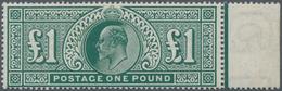 Großbritannien: 1902, 1 Pound Green, Mint Marginal Piece From Right Margin Of Sheet In Deep Color An - Ohne Zuordnung