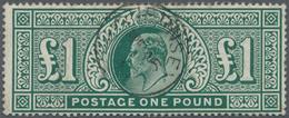 Großbritannien: 1902, KEVII £1 Dull Blue-green Wmk. Three Imperial Crowns Fine Used With Light 'GUER - Ohne Zuordnung