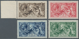 Großbritannien: 1913, Seahorses Simplified Set Of Four 2s6d. Sepia-brown To £1 Green (one Nibbed Per - Ohne Zuordnung