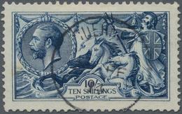 Großbritannien: 1913, Sea Horses (Waterlow), 10s. Indigo-blue, Deep Intense Colour And Normal, Sligh - Ohne Zuordnung