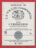 Etiquette -France - Corbières - 1979 - La Voulte-Gasparets. - Etiquetas