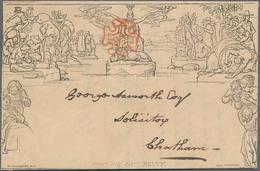 "Großbritannien - Ganzsachen: 1840, Muready Envelope 1d. Black Used With Red MC On Front And C.d.s. "" - 1840 Mulready-Umschläge"